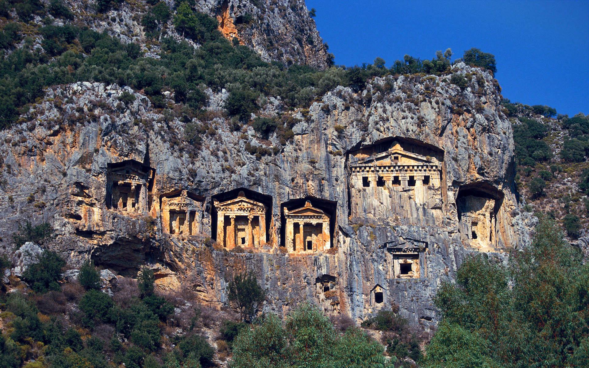 Likya Antik Kaya Mezarlar?, Antalya, Türkiye (Ancient Lycian Rock Tombs, Antalya, Turkey)